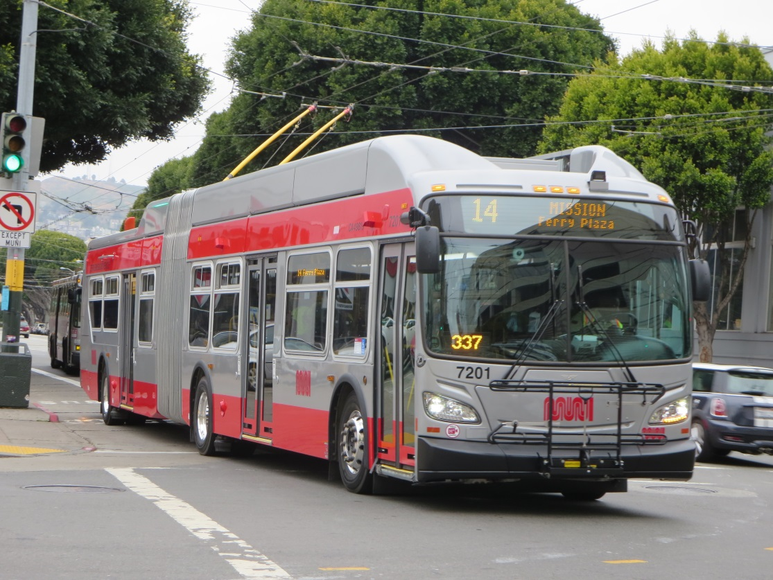 New 60-foot trolley coach on the 14 Mission
