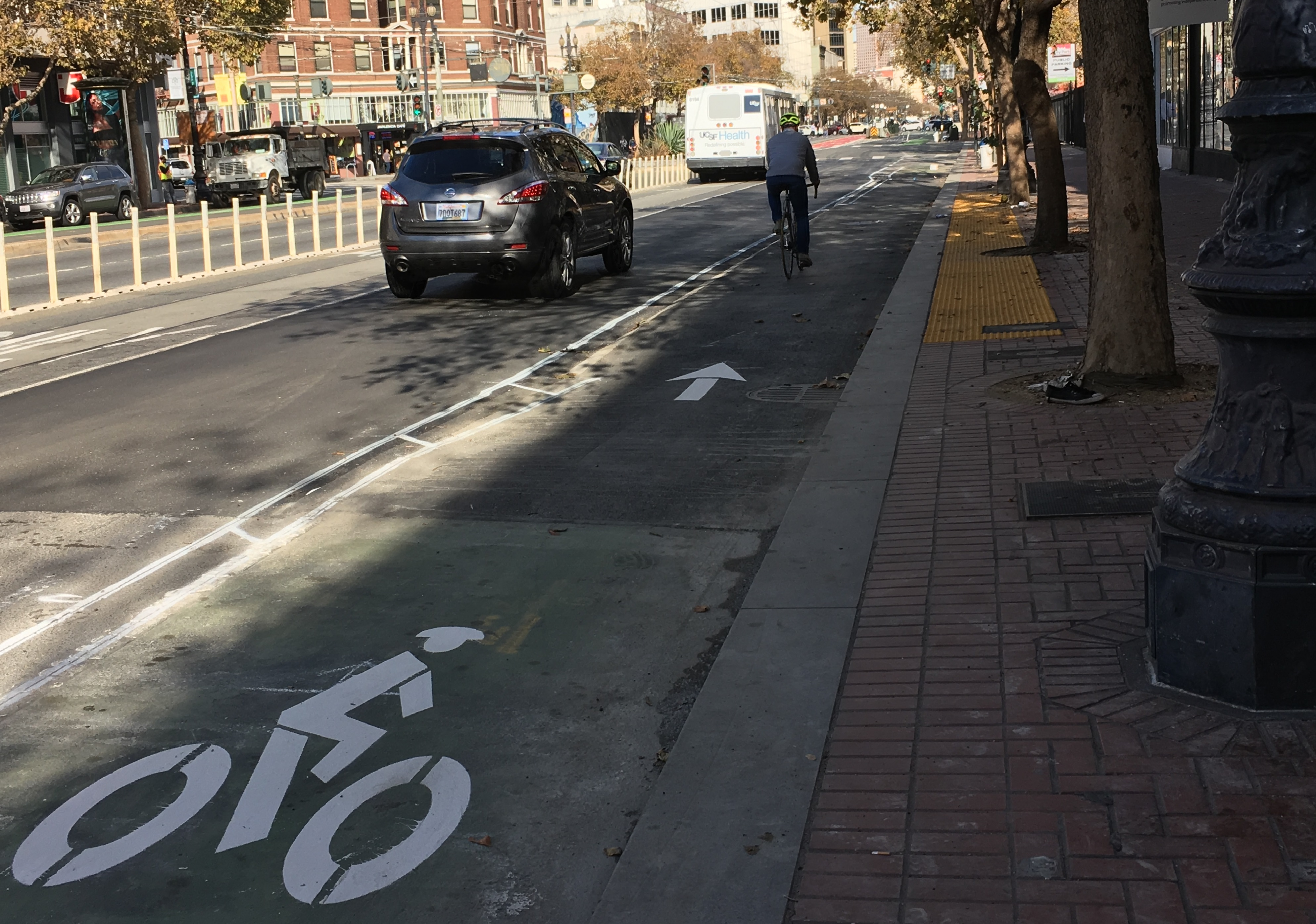 The Raised Bikeway Demonstration Project between Gough and 12th is substantially complete