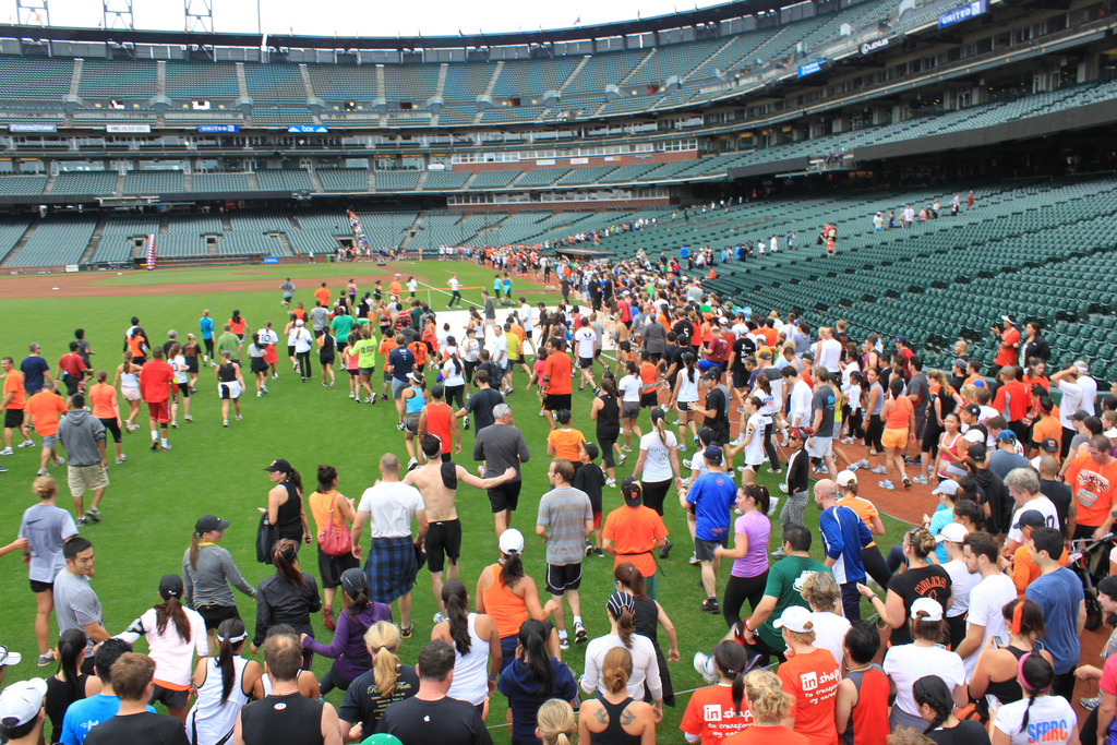 People inside AT&T Park for the Giant Race