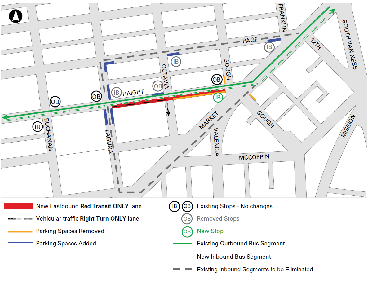 Map of new traffic configuration on Haight Street