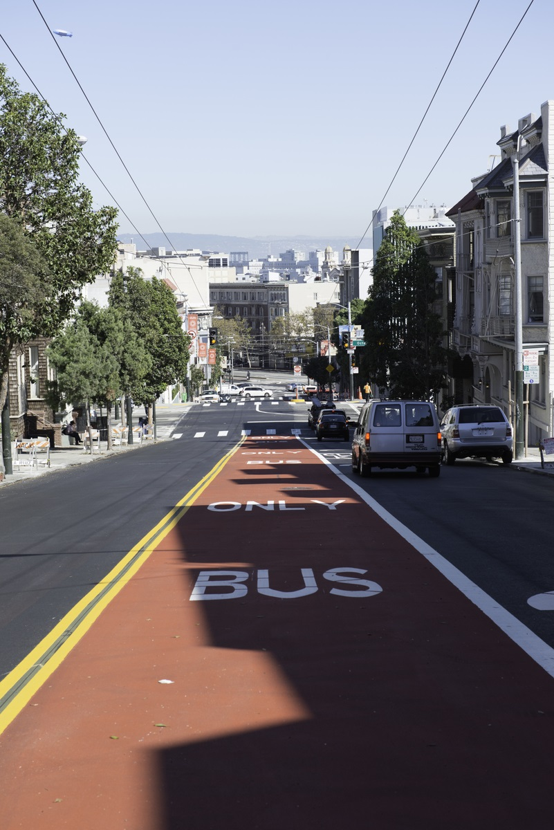 new transit-only lane on Haight Street