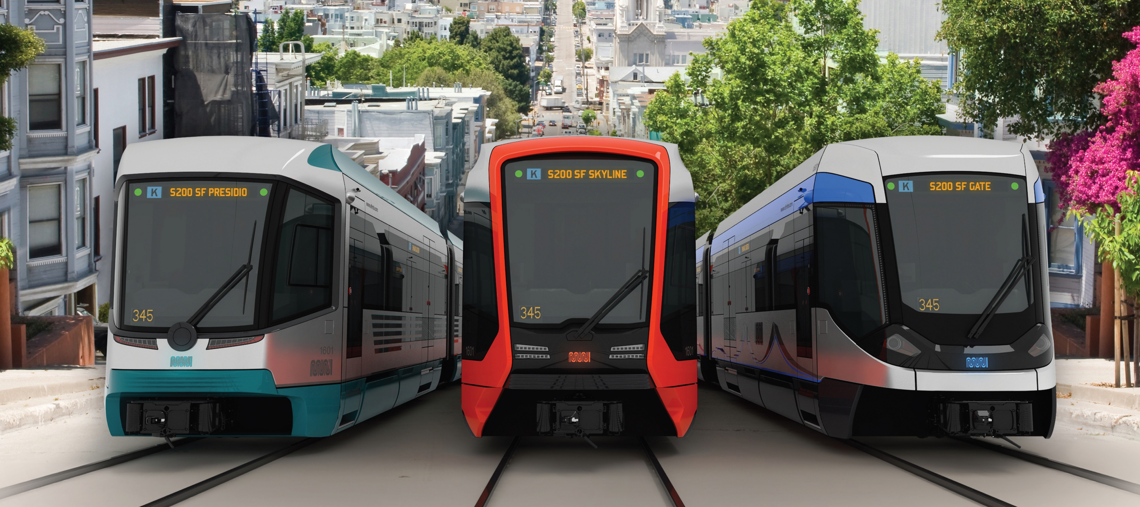 Renderings of three potential future Muni train designs