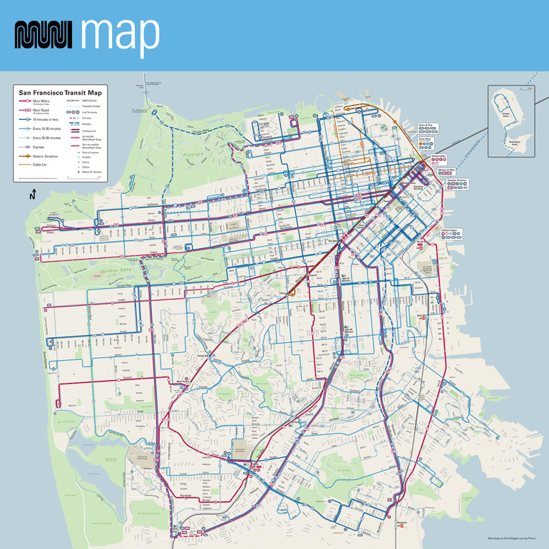 Redesigned 2015 Muni Map with Rapid and Metro Routes in Red and Other Routes in Blue. Thickness of Line Denotes Frequency of Service.