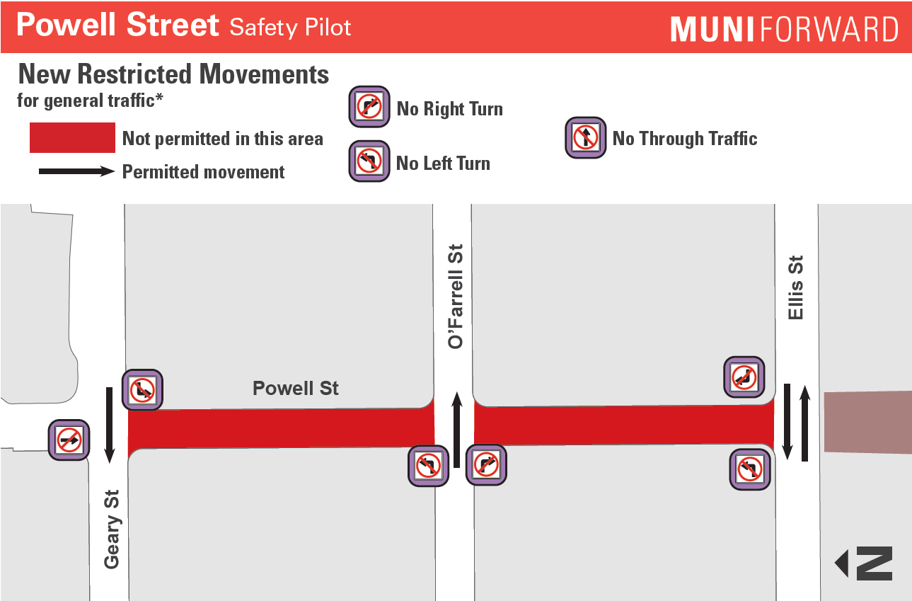 Powell St turn restrictions