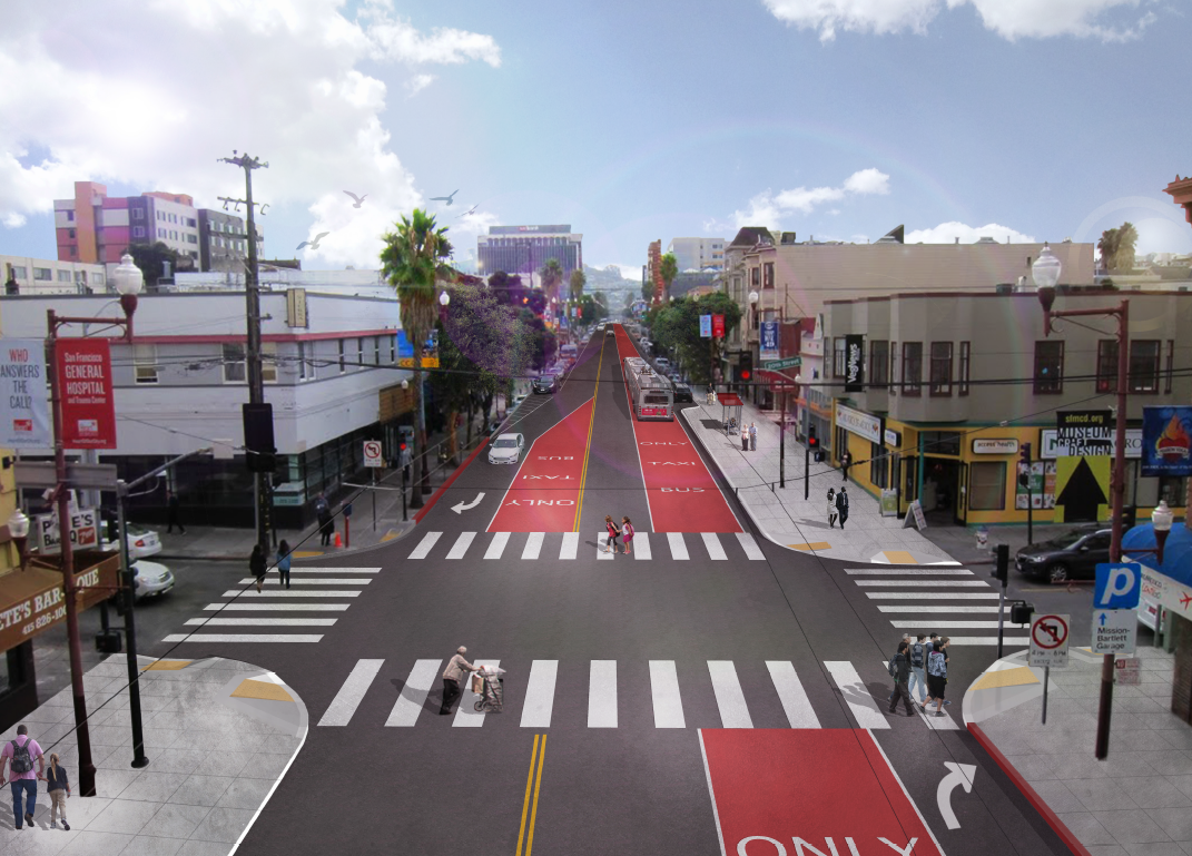 Rendering of the new street design for Mission facing southbound at 20th Street