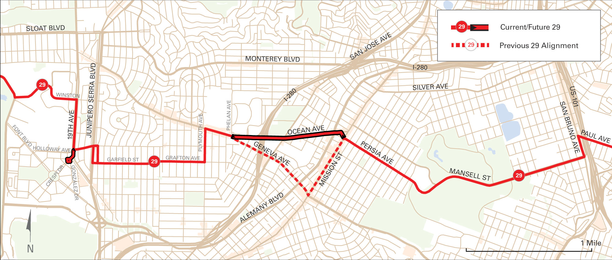 29 Sunset route change map