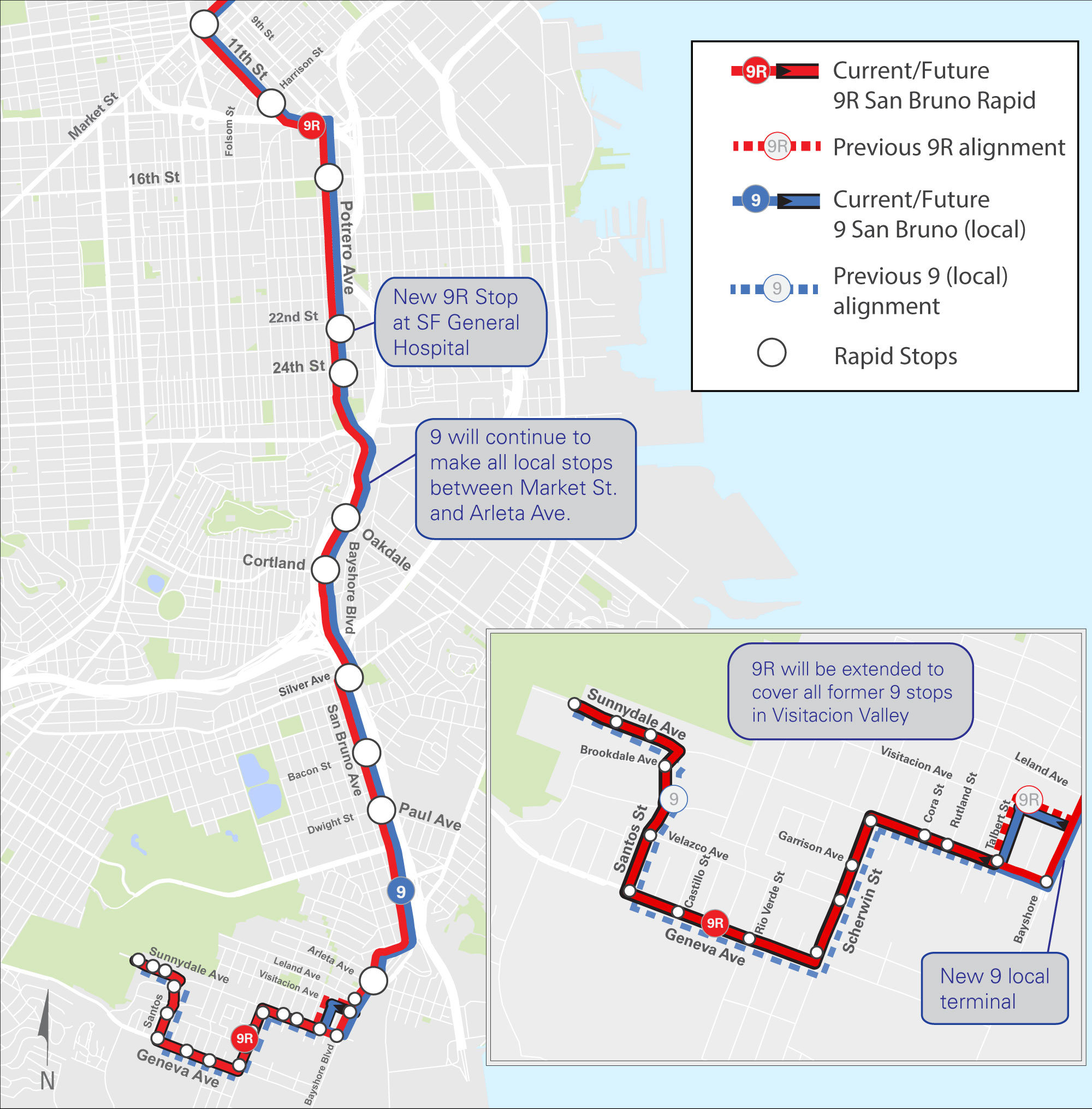 Coming Next Week New  Improved Muni Connections To Vis Valley - Map san francisco bus routes