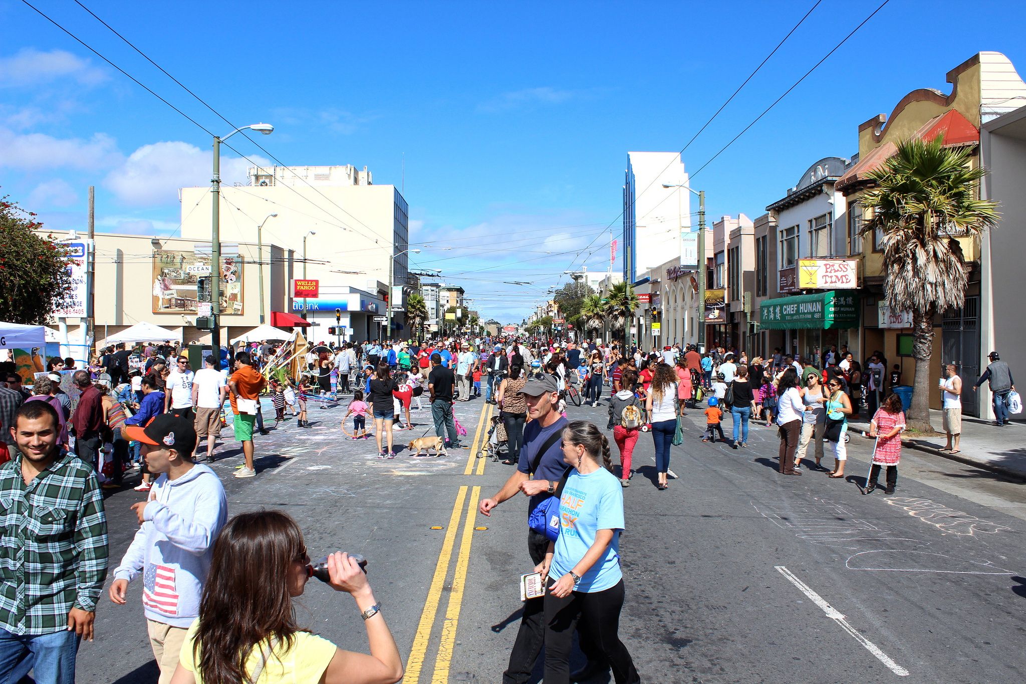 People enjoying Sunday Streets in the Excelsior