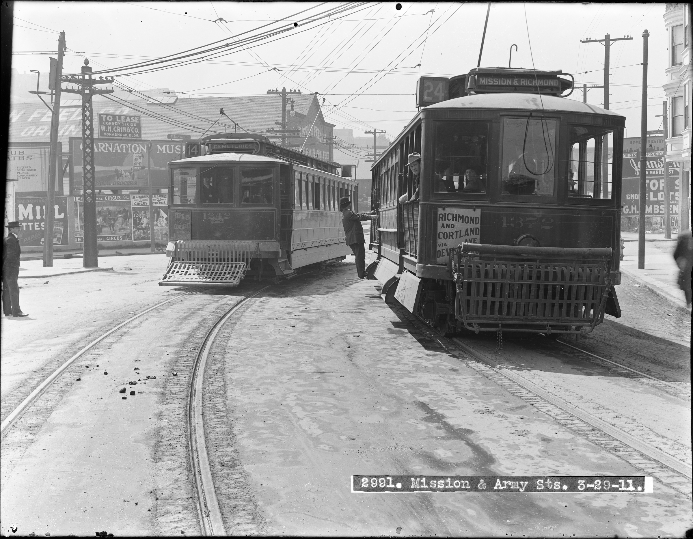Streetcars 1242 and 1372 at Mission and Army Streets | March 29, 1911