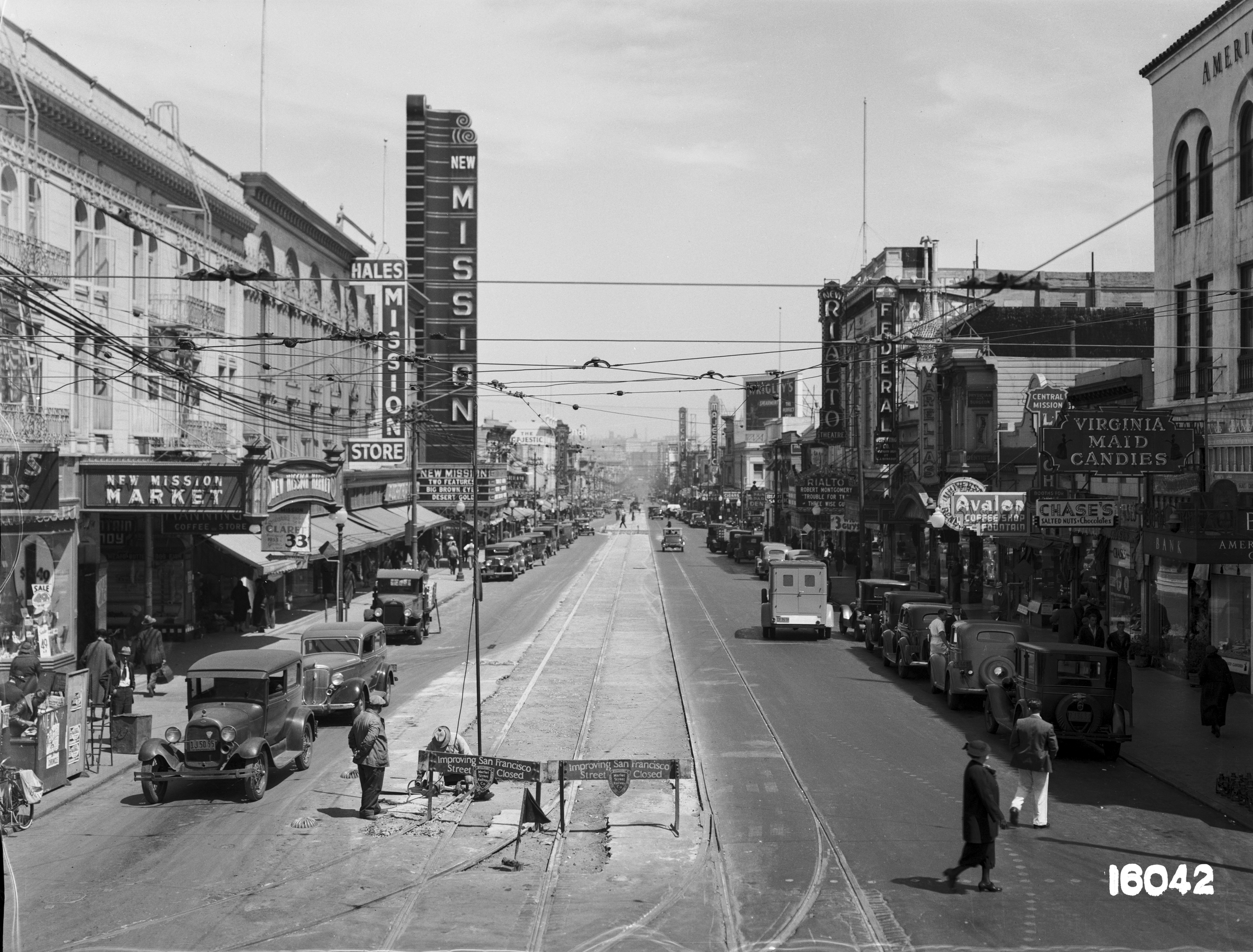 Overhead View of Mission Street Reconstruction, Looking North from 22nd Street | July 24, 1936