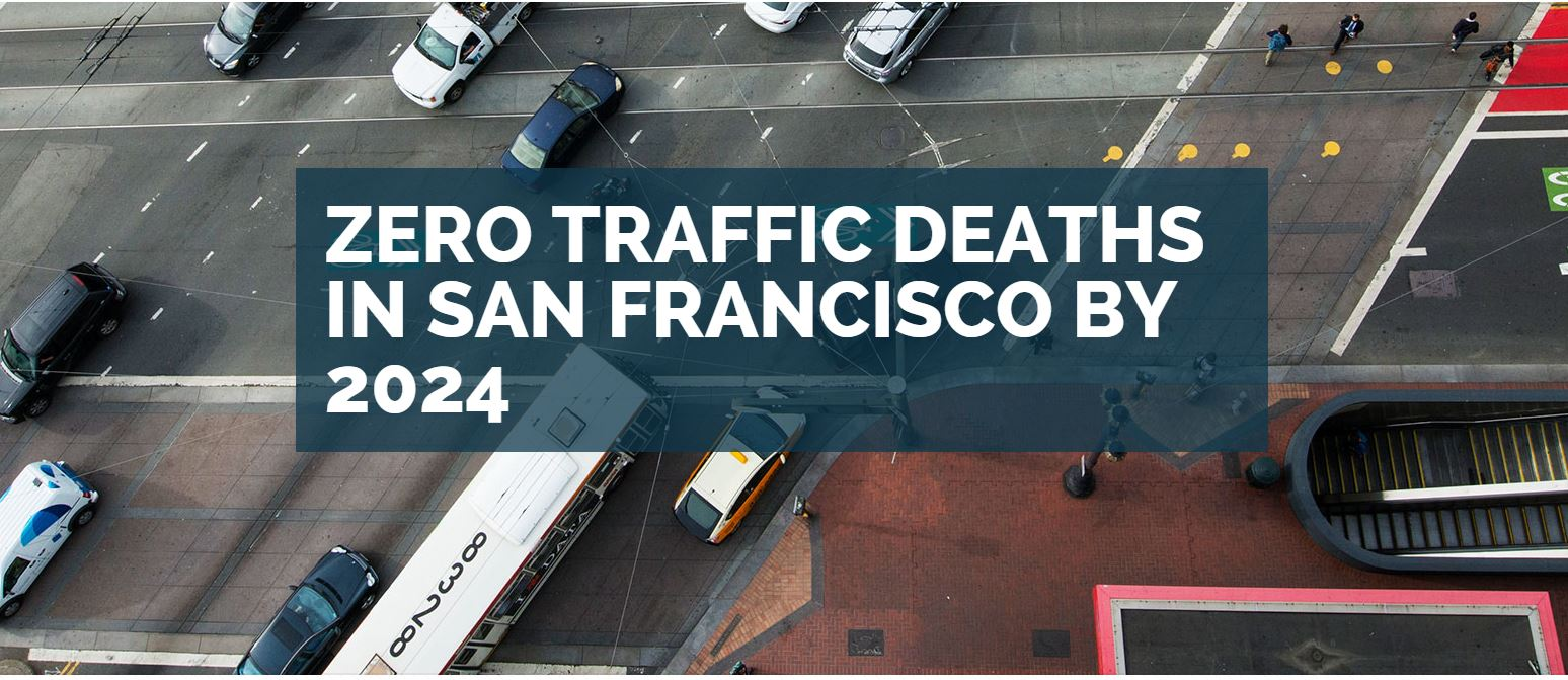 "Aerial photo of Market Street intersection with text, ""Zero Traffic Deaths in San Francisco by 2024"""
