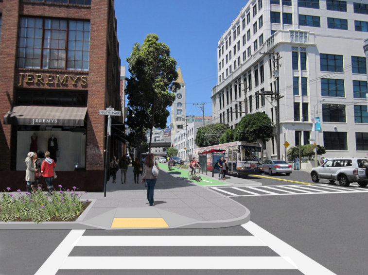 A rendering shows 2nd Street at South Park Street with a bike lane between the sidewalk and a bus boarding platform, where a Muni bus is stopped.