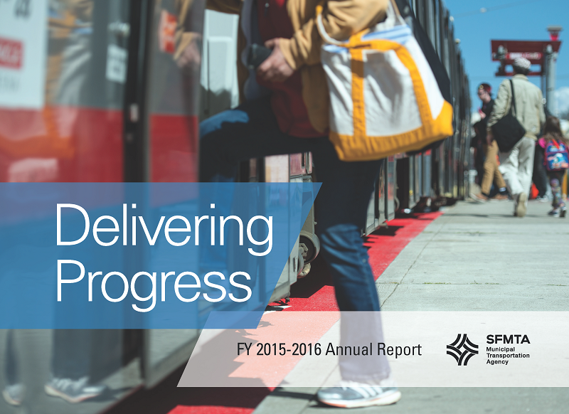Annual Report cover image, with a photo of people boarding a Muni train.