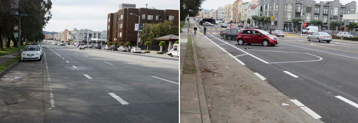 "Two photos show Bay Street before and after it was reconfigured. In the ""before"" photo, the street has four traffic lanes and cars parked parallel to the curb. In the ""after"" photo, it has two traffic lanes, and angled cars parked between the traffic lanes and curbside bike lanes.]"