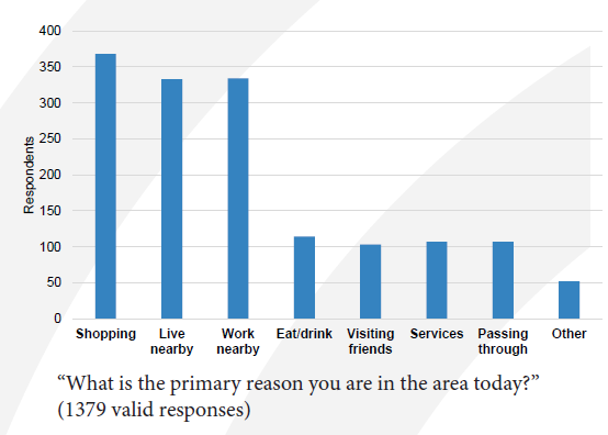 Chart showing reasons people visited Mission Street.