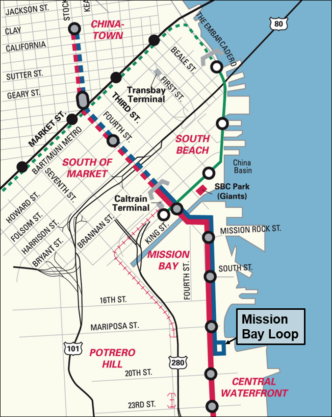 A map showing the location of the Mission Bay Loop on the T Third Line.