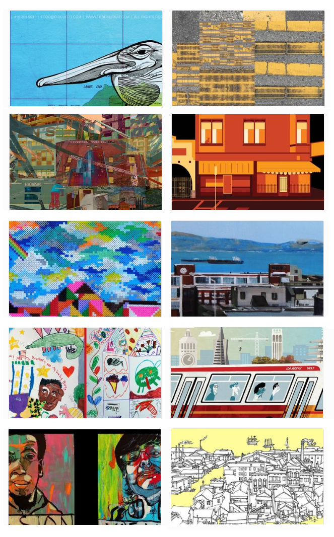 Thumbnails of art by the 10 finalists for Muni Art 2017