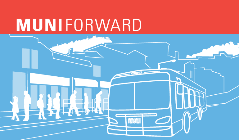 "An illustration of a Muni bus at a busy boarding platform, with a ""Muni Forward"" banner at top."