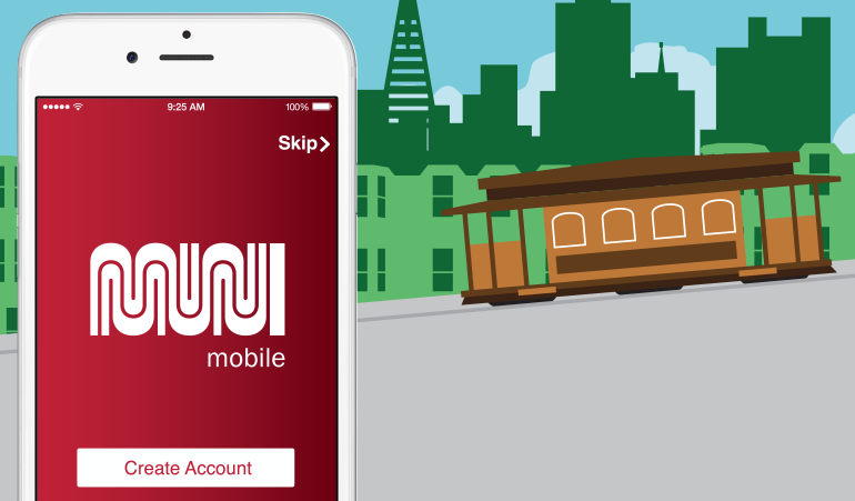An illustration of the MuniMobile app on a smartphone. The illustrated background features a cable car against the San Francisco skyline.