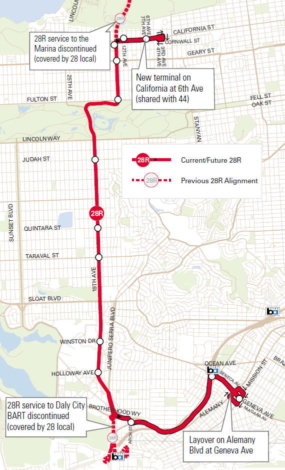 A map of the new 28R route running between California Street in the Richmond District, along 19th Avenue, Brotherhood Way and Highway 280, stopping at Balboa Park Station and terminating at Geneva Avenue and Mission Street.