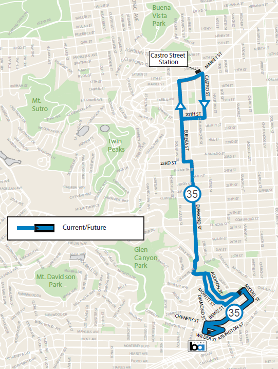 A map of the 35 Eureka route. Its terminal in Diamond Heights is extended from Bernis Street to Glen Park BART station via Chenery Street.