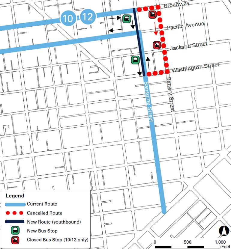 Sansome street contraflow lane map