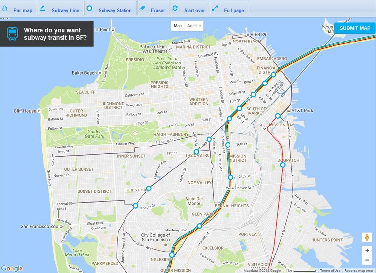 Subway Map Google Maps How.Draw Your Dream Map To Help Shape The Future Of Subways In Sf Sfmta