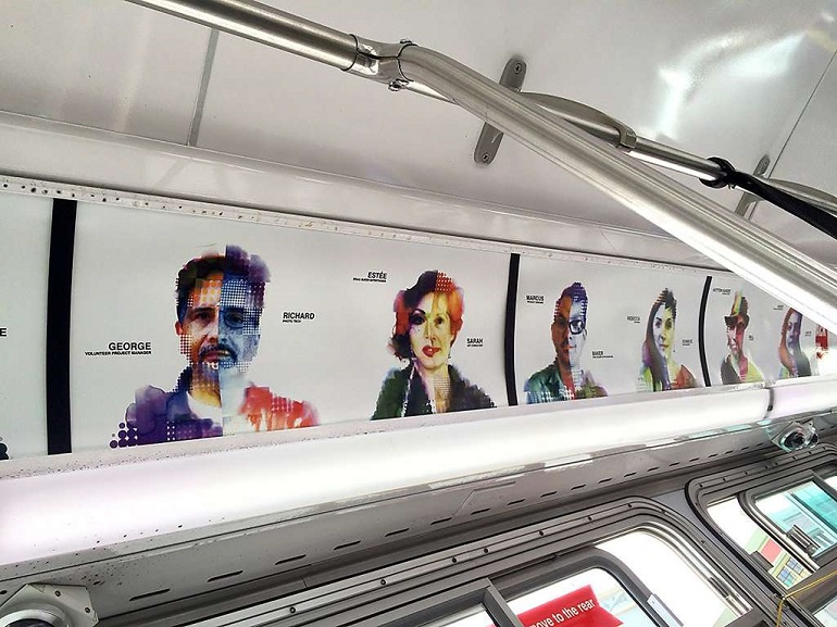 A display panel on a Muni bus features Philip Hua's artwork.