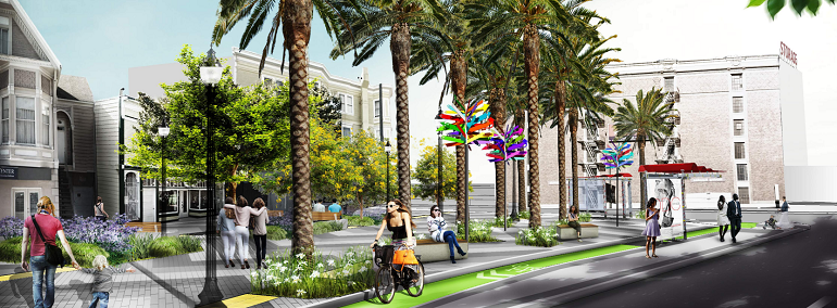 A rendering of Masonic and Geary shows people walking through a concrete plaza lined with trees and planters. Along the curb, a woman rides in a green bike lane separated from the roadway by a Muni boarding island with a shelter and waiting passengers.
