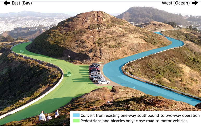 A photo of the top of Twin Peaks. Markings on the image denote two sections of the roadway that loops around the two mountaintops. One section, on the west side, would be for pedestrians and bicycles only, and the other would be converted from one-way traffic to two-way traffic.