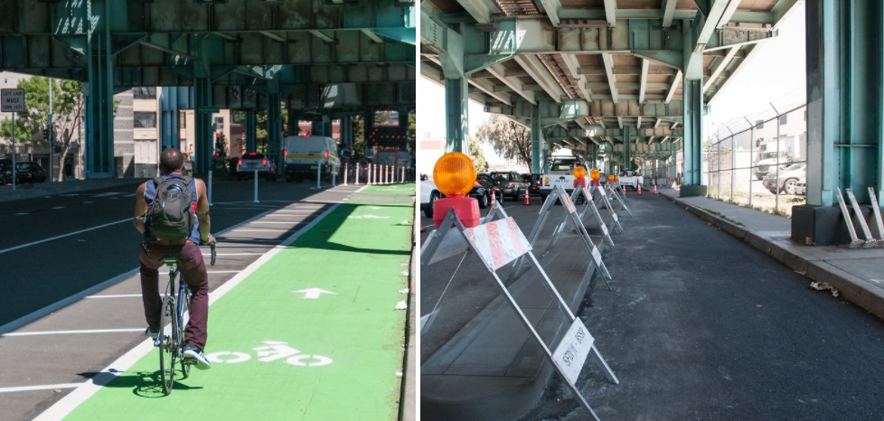 Two photos. One photo shows a man bicycling on a newly-installed curbside bike lane on 13th Street, separated from traffic lanes by a lane of car parking and a buffer area. Second photo shows a curbside bike lane on eastbound Division Street with newly-installed concrete dividers covered by construction fixtures.