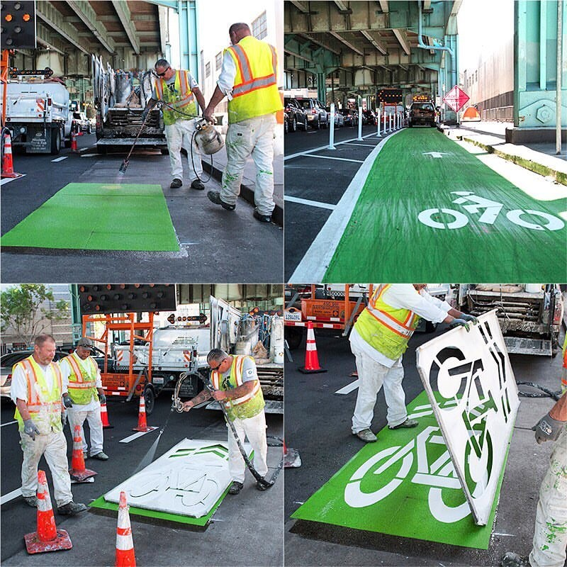 Four photos showing an SFMTA crew installing bike lane and sharrow markings on the road on 13th Street.