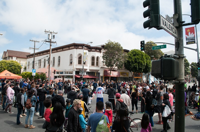 Sunday Streets Crowd on Valencia Street.