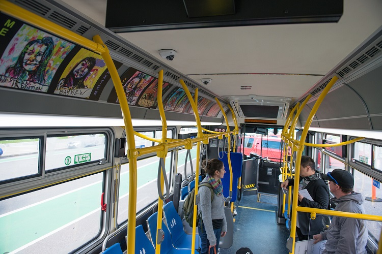 Muni bus staged with art