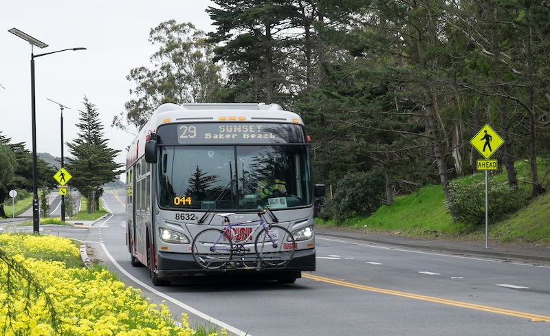 A Muni bus on the 29 Sunset route on the recently-redesigned Mansell Street in McLaren Park.