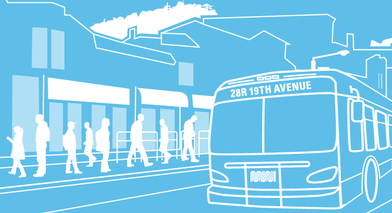 "An illustration of a Muni bus with ""28R 19th Avenue"" marked on its headsign on a street in front of a boarding platform."