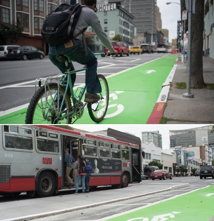 Two photos of the new parking-protected bike lane on 7th Street.