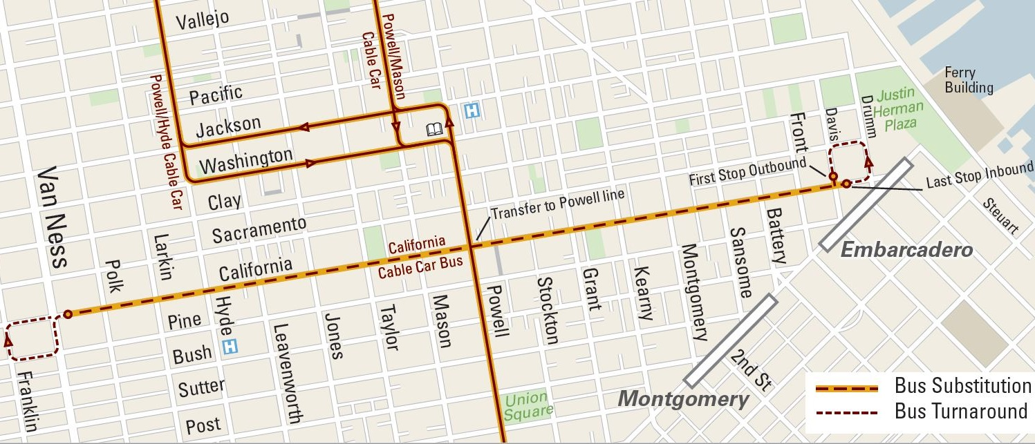 A map of substitute bus service on the California Cable Car Line .The last inbound and outbound stops on the eastern end of the line are at California and Davis streets.