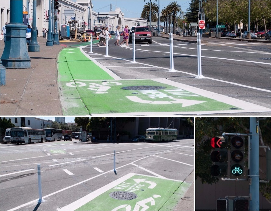 Three photos of a newly-installed bicycle traffic signal and waiting area for left turns on The Embarcadero at North Point Street.
