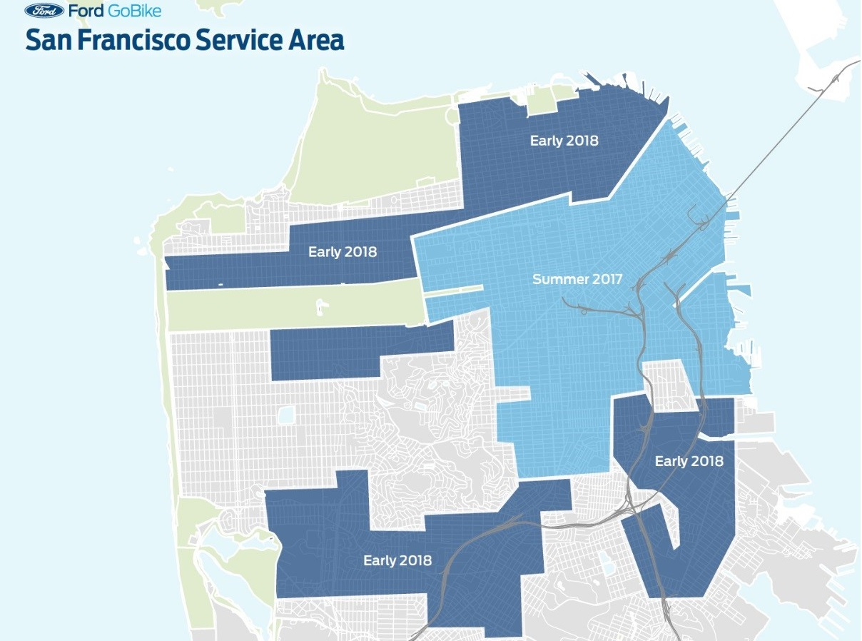 Areas in San Francisco set to get Ford GoBike stations as described in the text.
