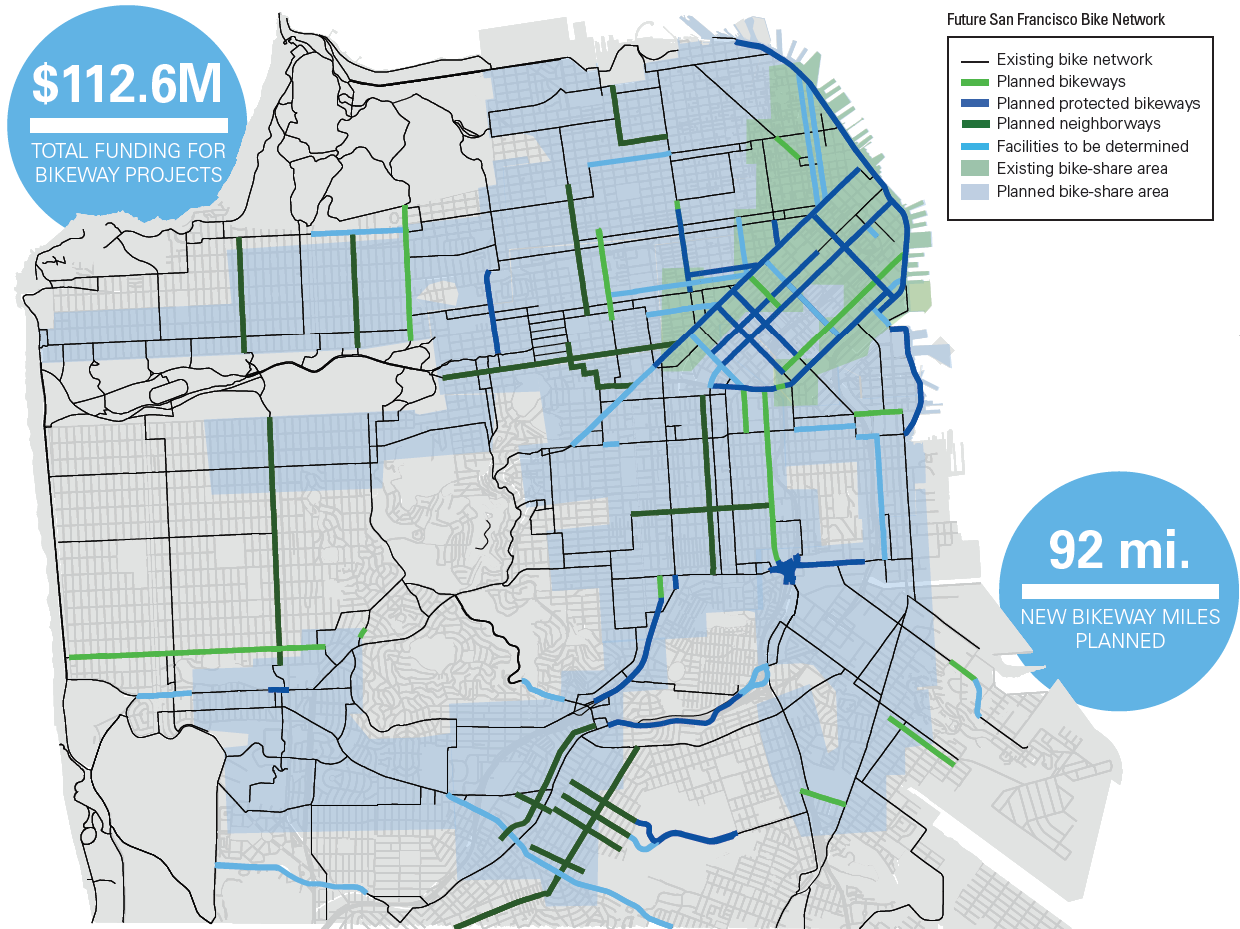 Pedaling Forward A New Guide To Our Vision For A BikeFriendly SF - San francisco bike map