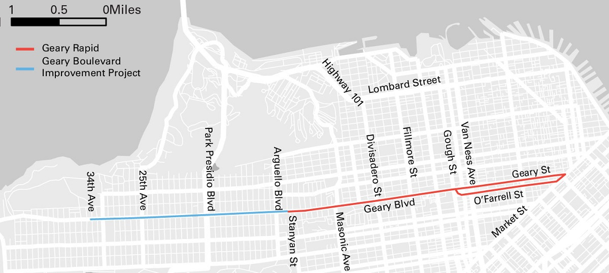 Map of San Francisco. The Geary Rapid Project segment is marked on Geary Street, between Market and Stanyan streets, and O'Farrell Street, between Market and Gough streets. The Geary Boulevard Improvement Project segment is marked on Geary Boulevard between Stanyan and 34th Avenue.
