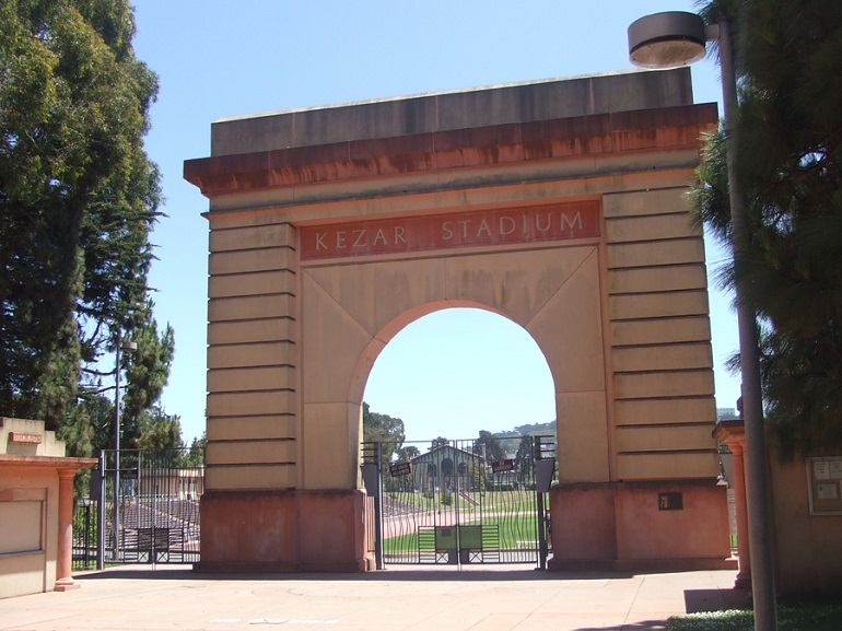 Original facade of Kezar Stadium on a bright, sunny day.