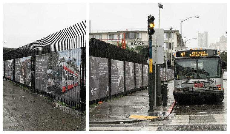 Two photos of the fence outside Kirkland bus yard on Powell at Beach Street. In one photo, a 47 Van Ness Muni bus is next to the curb.
