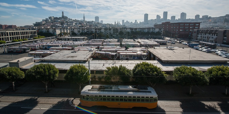 View overlooking Muni's Kirkland bus yard in Fisherman's Wharf, with a historic streetcar on Beach Street in front.