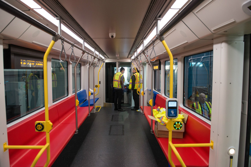 Interior of the new Muni train.