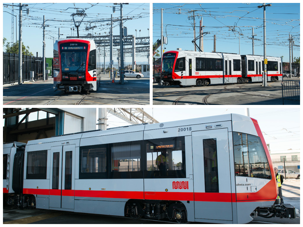 Photos of the new Muni train outside in the train yard.