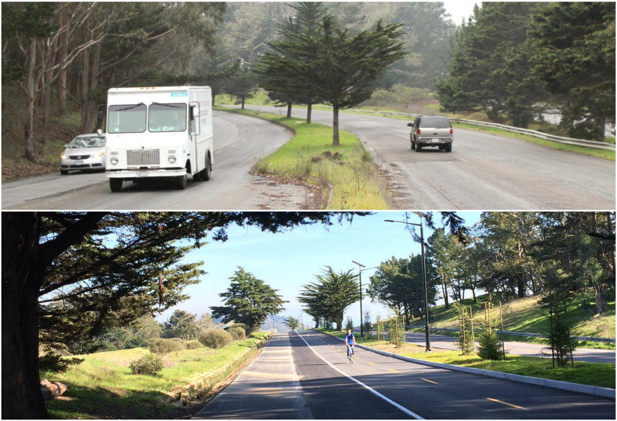 Two photos of newly-renovated Mansell Street in McLaren Park, before and after it was redesigned. The top, older photo shows the roadway with only vehicle traffic on either side of a center planted median. The bottom, newer photo shows the road with walking and biking paths on one side of the median, and vehicle traffic on the other.