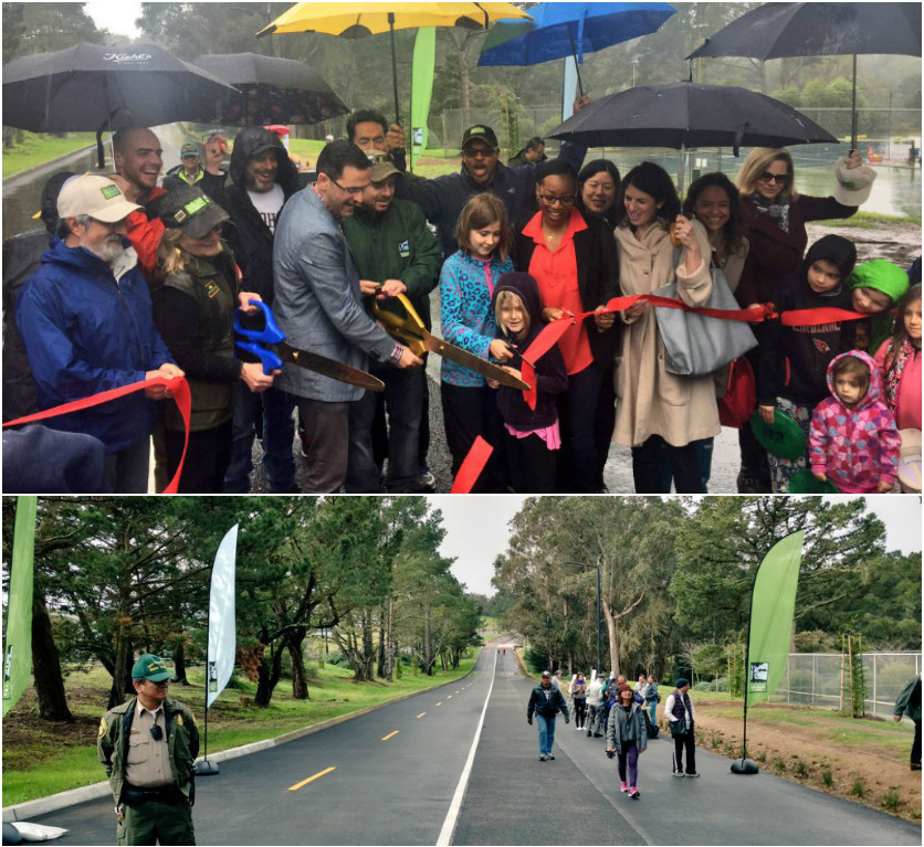 Two photos from the celebration on Mansell Street. The top photo shows participants, some holding umbrellas, posed at the ribbon-cutting event. The bottom photo shows people walking along the new roadway.