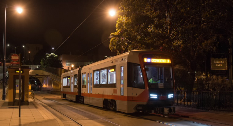 The test train at the Duboce Park stop, east of the Sunset Tunnel on the N Judah line.